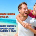 Happy couple in love on beach summer vacations. Joyful Asian gir